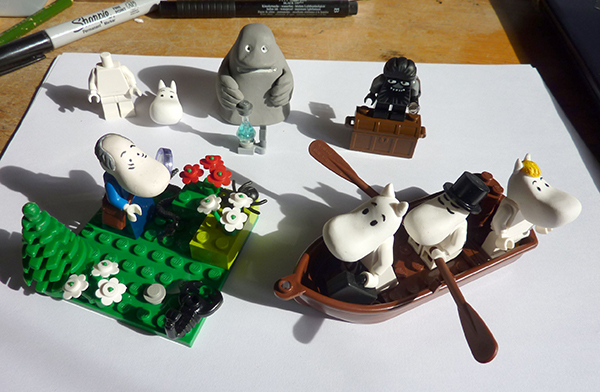 my hand-made heads, and Lego bodied Moomin